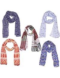 Weavers Villa Set Of 5 Premium Soft Summer Vibrant Coloured Trendy Scarf, Stoles, Dupattas - B01G0FS3N4