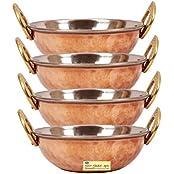 "SHIV SHAKTI ARTS 3"" X 6"" Handmade Traditional Steel Copper Bottom Dish Serving Set Of 4 Kadai Capacity 500 ML..."