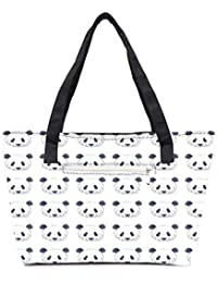 Pack Of 2 Cute Panda Black And White Pattern Combo Tote Shopping Grocery Bag With Coin Pencil Purse