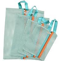 SOKDO New Fashion Mesh Clothes Storage Bag Travel Bag Blue