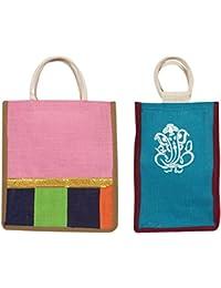 Cristal Bags Jute Shopping Bags (Pack Of 2, Jute-676)