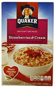 Quaker Instant Oatmeal Strawberry & Cream, 10-Count Box, 12.3 oz (Pack of 4)