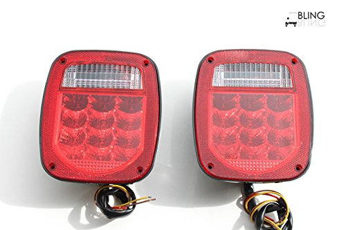 Red Truck Trailer Boat Jeep TJ CJ YJ JK replacements Stop Turn Tail LED Lights ~ Stud Mount
