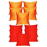 AGLEY QUILTING ORANGE N PLAIN RED CUSHION COVERS COMBO 10 PCS SET