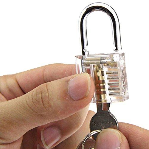 SUNNOW® Professionelle Lockpicking und 12-teiliges Pick-Set Sichtbar Übungschloss Vorhängeschloss Praxis Hangschloss mit Schlüsseln (Silbern) - 3