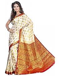 Alankrita Half White X Meroon Color Art Silk Kanchipuram Saree