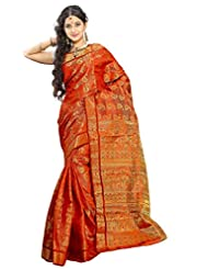 Alankrita Kanchipuram Art Silk Mango Meena Brocket Rich Pallu Saree With Stones(Orange)