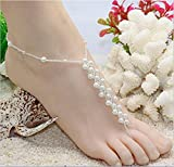 Pearls Ankle Bracelet Crochet Anklets Barefoot Sandals Beach Wedding Jewelry