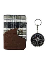 Apki Needs Long Tan Mens Wallet & Beautiful Compass Keychain Combo