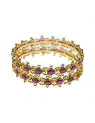 Ruby Stone Studded Pair Of Bangles Made In Silver Alloyed Metal