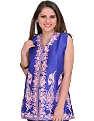 Exotic India Dazzling-Blue Waistcoat From Kashmir With Ari Embroidered Pa - Blue