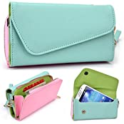 Mint And Pink Crossbody Case For Htc One M9+, E9+ E9s, Htc Desire 826 826+, Htc One Me, Butterfly 3, Htc One Max...