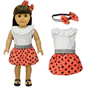 Doll Clothes Red Polka Dots Dress With Head Band Set Fits American Girl Doll, My Life Doll, Our Generation And...