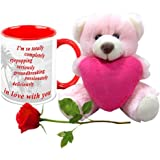 Valentine Gifts HomeSoGood In Complete Love With You White Ceramic Coffee Mug With Teddy & Red Rose - 325 Ml
