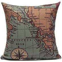 Linen Sailing Yacht Anchor Map Pillow Case Home Decor Cushion Cover-4