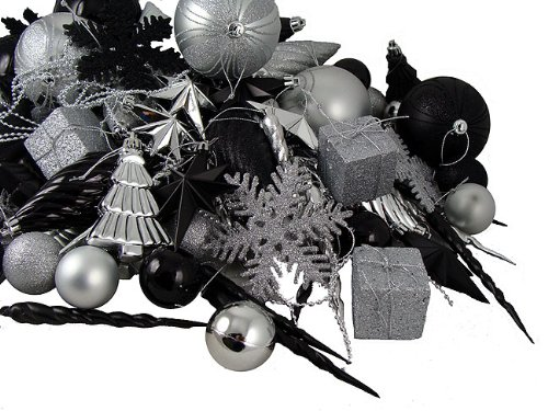 black silver christmas ornaments - Black Red Silver Christmas Decorations