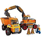 BRICK-LAND Construction Building Bricks Toy Set With Excavator And Dump Truck With Figure Workers, 381 Pieces