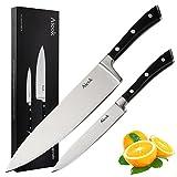 Aicok Set De Dos Cuchillos Ergonómicos De Chef Fabricados En Acero Forjado Alemán De 20 y 13 cms