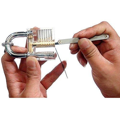 SUNNOW® Professionelle Lockpicking und 12-teiliges Pick-Set Sichtbar Übungschloss Vorhängeschloss Praxis Hangschloss mit Schlüsseln (Silbern) - 5
