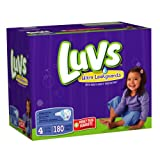 Luvs Premium Stretch Diapers with Ultra Leakguards, Size 4 (22-37 Lbs), 180 Count
