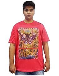 Xmex Trendy Round Neck Sinker Pink Cotton Tshirt For Men