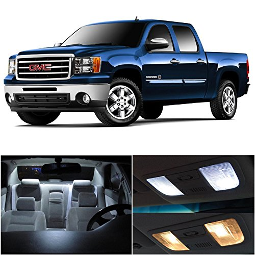 LEDpartsNow GMC Sierra 2007-2014 Xenon White Premium LED Interior Lights Package Kit (12 Pieces) + Installation Pry Tool