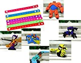 Young-lin 6PC/Set Big Hero 6 (Hiro, Baymax, Go Go, Fred, Honey Lemon, Wasabi No Ginger) Shoe Charms for Croc Fits Shoes, Wristband, Bracelet with 8PC Colorful Bracelets, Birthday Party Favors