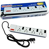 Marshal 5 Metres Universal Power Strip With Fuse, Individual Switches And Indicators