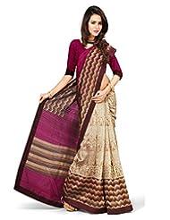 Inddus Women Beige & Pink Color Art Silk Fashion Saree