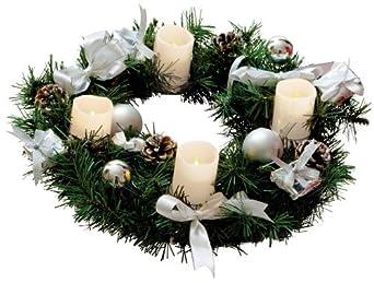 Adventskranz mit 4 Wachs LED Kerzen, weiss / silber