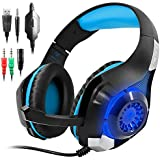 Blue : GM-1 Gaming Headset For PS4 Xbox One PC Tablet Cellphone, Stereo LED Backlit Headphone With Mic By AFUNTA-Blue