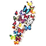 Amaonm 24 Pcs Removable Diy Pvc 3d Colorful Butterfly Wall Sticker Murals Wall Decals Wall Decorations Art Decor...