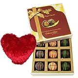 Valentine Chocholik's Luxury Chocolates - Vibrant Truffles Treat With Heart Pillow