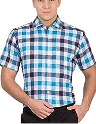 Arihant Men's 40s Lea Linen-100% Formal Half Sleeve Shirt - B00XEBC960