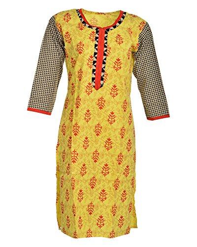 Global Women's Cotton Straight Kurta (GW58Yellow42015, Yellow, 42)