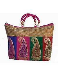 Ladies Fancy Purse Multi Canvas Tote Bag By ALIVE - B072PQFNB6