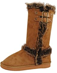 Faux Fur Lined Regular Mid-calf Boots With Buckles For Women Camel 5.5 B(M) US