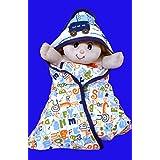 Gurukripa New Born Baby High Quality Extra Soft To Baby Delicate Skin Cartoon Print Hooded Housiry Chaddar Cum Odddna Wrapping Sheet Single Layer Baby Sleeping Bag Baby Cotton Sheet Blue