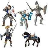 Papo Blue Lancelot and Knights: Lancelot Blue, War Horse Blue, Gevean Knight Blue, Knight With Crest Blue, Armored Blue Knight Set