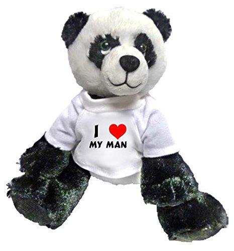 Plush Panda toy with I love my man t-shirt