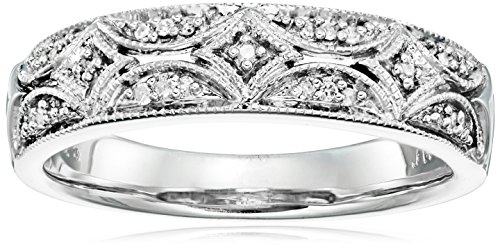 Sterling Silver Diamond Band Ring (1/20 cttw), Size 8