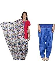 Indistar Women's Cotton MultiColor Patiala Salwar With Dupatta And Blue Patialas Salwar - B01HV4VYKC