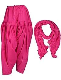 Jaipur Fashion Hub Combo Of Women's Cotton Patiala And Dupatta (Pink, Medium)