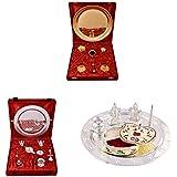 Gold Plated GL Pooja Thali Set,Silver Plated Royal Pooja Thali Set With Ganesh Laksmi And Silver Plated Swastika... - B01FZBC7LS