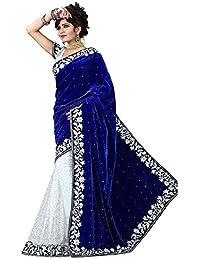 Aarna Fashion Women's Velvet Saree (Blue Heavy Velvet Saree_Blue And White_Free Size)