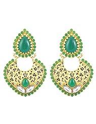 Awesome Traditional Dangler Design Matte Gold Tone Imitation Polki Earrings Set