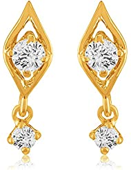 Mahi With Swarovski Zirconia Solitaire Drop Kite Gold Plated Stud Earring For Women ER1105040G