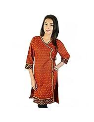 Jaipur RagaEthnic Design Hand Block Red-Black Cotton Top Red-Black Cotton Kurti