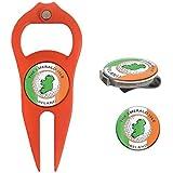 Hat Trick Openers 6-in-1 Golf Divot Tool Hat Clip Set With Ireland Logo Orange