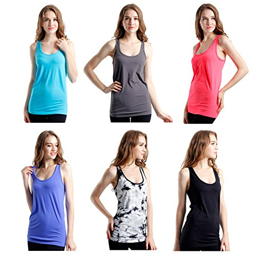 Semath Women S Workout Camisole Round Neck Racerback Tank Top 1 4 Or 6 Pack